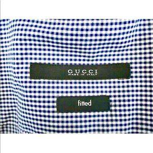 Gucci Dress Shirt Pristine Navy Blue Check 38 15